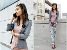 Anthropologie Flower Pin, Urban Outfitters Blazer, H&M Floral Jeggings
