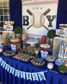 ⚾LA Dodgers Themed Candy Dessert Buffet⚾ by Baby Shower Decorations For Boys, Boy Baby Shower Themes, Star Baby Showers, Baby Shower Niño, Baby Shower Thank You, Baby Shower Parties, Baseball Theme Birthday, Baseball Party, Baseball Themed Baby Shower