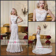Wholesale Mermaid Wedding Dresses - Buy 2015 Elegant Lace Mermaid Wedding Dresses Sheer Scoop Neck Sleeveless Applique Court Train Bridal Gowns With Buttons Back JA8596, $143.54 | DHgate