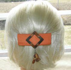 TRUE VINTAGE HAIR CLIP GRIP HEAD PIECE BARRETTE ORANGE MATERIAL COPPER 25$