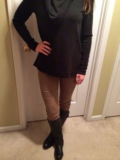 Army green pants with black cowl neck and studded rocker boots #Fall #Halloween #Fashion #Ootd