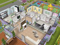 House 110 Pastel Family Home level 2 The Sims, Sims 3, Sims3 House, Sims 4 Family, Sims Freeplay Houses, Architecture Design, Sims House Design, Sims Free Play, Sims House Plans