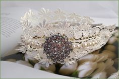 Boho lace band with vintage diamante detail by Lucky Sixpence