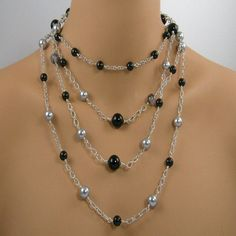 Three Piece Long Chain Gemstone Necklace Set, Mix and Match Long Necklace Set