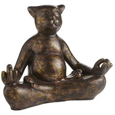 Copper Patina Yoga Cat ~ LOVE IT!! ~ Cats have a knack for mastering the art of relaxation, om, but here's a terracotta kitty that's especially content to sit pretty. Finished in copper patina and striking a yoga pose, this feline looks purr-fectly comfortable.