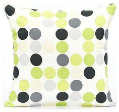 Lime Green & Gray Polka Dot Throw Pillow Cover contemporary-pillows