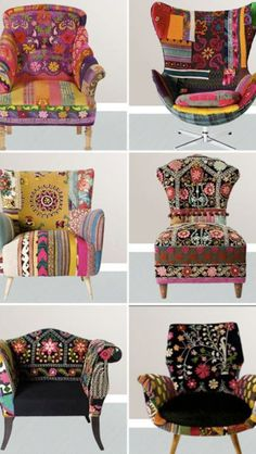 Pour les amoureux du style bohème, un site magnifique: The gypsy lifestyle boho chic is for the nomad at heart. It represents a collection of various different colors, patterns and textiles and creates a bold style. The basic essence of Boho chic is. Bohemian Furniture, Funky Furniture, Furniture Design, Art Furniture, Patterned Furniture, Furniture Chairs, Colorful Furniture, Furniture Styles, Plywood Furniture