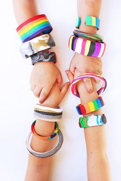 Make these bracelets with your kids!! Design for Kids (and Grown-Ups): 6 Polymer Clay Bracelets
