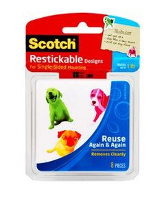 Scotch Restickable Designs R106-Dogs Wow the dogs have many colors are comes off clean. Wash them to reactivate the adhesive....