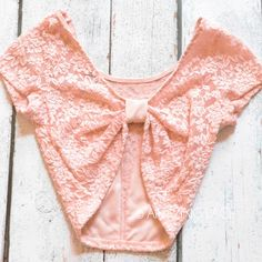 coral blush lace bow back crop top