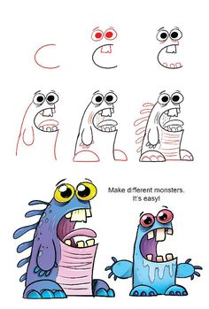 How to draw funny monsters drawing baby monsters using lowercase letters how to draw cute doodle . how to draw funny Art Drawings For Kids, Doodle Drawings, Drawing For Kids, Animal Drawings, Easy Drawings, Baby Cartoon Drawing, Funny Cartoon Drawings, Cartoon Art, Character Drawing