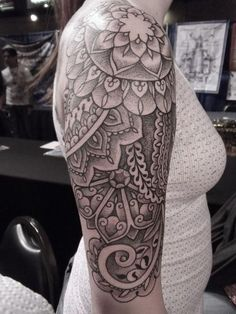 Henna style sleeve tattoo by Dan DiMiattia, Calypso Tattoo