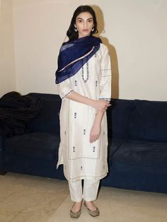 Buy off white hand embroidered chanderi silk kurta with pants - set of 2 online Pakistani Suit With Pants, Kurta With Pants, Pakistani Dresses Casual, Pakistani Suits, Salwar Pants, Pakistani Bridal, Anarkali Suits, Punjabi Suits, Trouser Pants