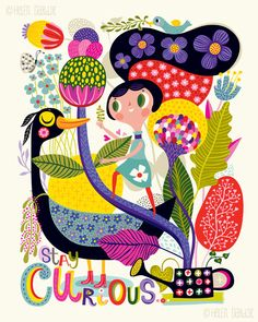 Stay Curious - by helen dardik. Limited edition giclee print of an original illustration. Printed on Epson velvet fine art stock (100% cotton rag),