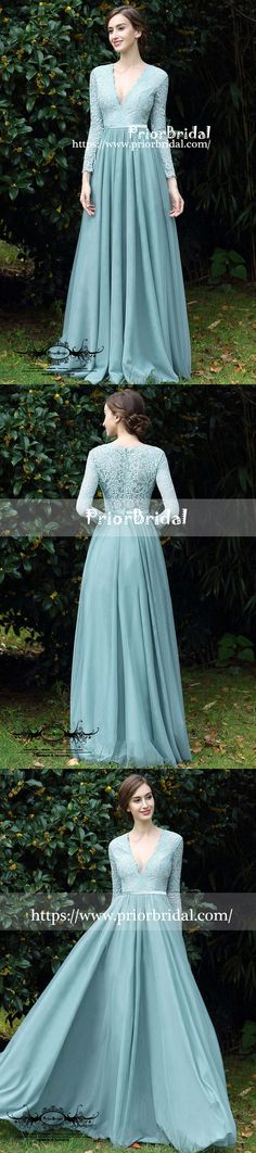 f47fa37e44 Long Sleeve Tiffany Blue Lace Top Chiffon V-neck A-line Bridesmaid Dresses