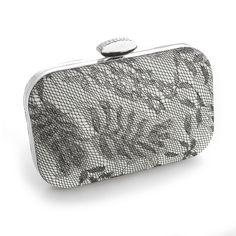 Elegant Mariell Silver Lacey Evening Bag Minaudiere Clutch - Affordable Elegance Bridal -
