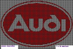Renault, Ferrari,Peugeot,Fiat, Citroën, Mercedes and co....grilles gratuites des logos à broder Audi, Beading Tools, C2c, Le Point, Filet Crochet, Logos, Cross Stitching, Pixel Art, Cross Stitch Patterns