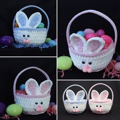 Bunny Baskets are back! Perfect for holding all of those Easter treats, or use it as a centerpiece or unique table decoration! Easter Crochet Patterns, Crochet Basket Pattern, Crochet Bowl, Crochet Bunny, Crochet Pencil Case, Cute Easter Bunny, Holiday Crochet, Easter Baskets, Easter Crafts