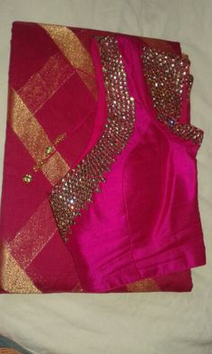 Magenta & pink mul saree with crystal work blouse