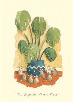 """THE MYTHICAL CHEESE PLANT"" by Alison Friend - A Two Bad Mice Greeting Card"