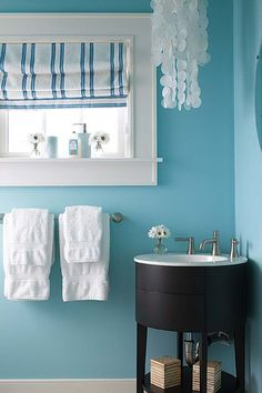 Turquoise Walls With White Trim And Dark Sink Base Is Delicious Tiffany Blue