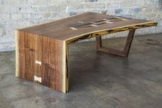 Custom Made Live Edge Walnut Waterfall Coffee Table