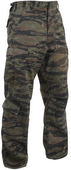 - Tiger Stripe Camo - Woven 8-Pocket Trousers w/ Zipper, BDU - Reinforced Seat & Knees - Poly/Cotton Blend - Zipper Fly - Cotton Draw String Pull (ankle tie) - Available in XS - 3XL Recommended inseam