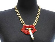 NECKLACE / SMOKING LIPS / LINK / METAL CHAIN / CRYSTAL STONE PAVED / EPOXY / CHUNKY / 3 3/4 INCH DROP / 18 INCH LONG / NICKEL AND LEAD COMPLIANT