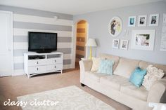 Classy Clutter: How to paint horizontal stripes on your wall!