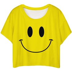 Yellow Lovely Smile Printed Ladies T-shirt ($10) ❤ liked on Polyvore featuring tops, t-shirts, yellow, yellow top, yellow tee and yellow t shirt