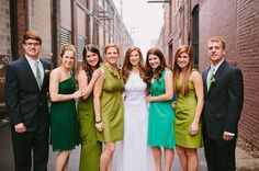 green bridesmaids dresses, photo by Caitlin Thomas http://ruffledblog.com/pittsburgh-st-patricks-day-wedding #wedding #bridesmaidsdresses #bridalparty