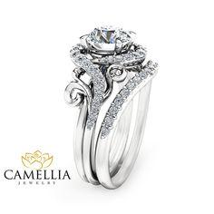 Moissanite Unique Engagement Ring Set 14K White Gold Engagement Rings Unique Moissanite Ring with Matching Band