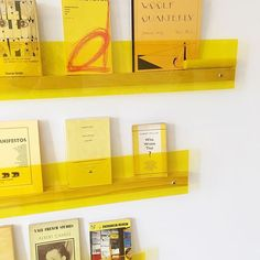 Yellow plexi shelves
