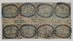 Silk brocade Boxes in eight roundels Central Asia 7th - 8th century.  Dimensions: 23.5 x 45 cm (37 x 56 cm framed.)   Esther Fitzgerald Rare Textiles