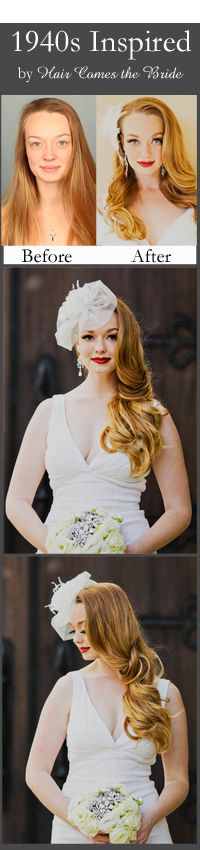 1940's Bridal Hair and Makeup by Hair Comes the Bride ~ Before and After