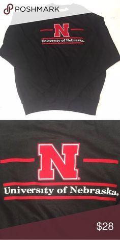 UNIVERSITY OF NEBRASKA - Sweatshirt  Black XXL UNIVERSITY OF NEBRASKA CREWNECK SWEATSHIRT Cornhuskers Sewn Crew USA-MADE NWT Black XXL The Game Shirts Sweatshirts & Hoodies
