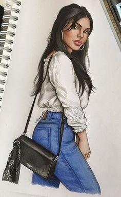 Fashion Design Sketchbook, Fashion Design Drawings, Art Sketchbook, Fashion Drawing Dresses, Fashion Illustration Dresses, Bff Drawings, Cool Art Drawings, Cartoon Girl Drawing, Cartoon Art