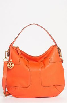 I love this bag so so much!! The orange color is amazing.   Tory Burch 'Amalie' Leather Hobo available at #Nordstrom