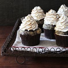 S'mores Cupcakes with homemade toasted marshmallow frosting that's light as a cloud.