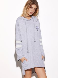 17$  Buy now - http://dikei.justgood.pw/go.php?t=13585 - Grey Hooded Embroidered Striped Sleeve High Low Sweatshirt Dress 17$