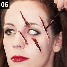 Anleitung für blutige Kratzer und Schnittwunden #halloween #sfx #make-up #blut #wunde