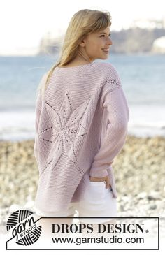 """Morning Star - Knitted DROPS jumper worked in a square with leaf pattern in """"Paris"""". - Free pattern by DROPS Design Knitting Patterns Free, Knit Patterns, Free Knitting, Baby Knitting, Free Pattern, Drops Design, Drops Patterns, Star Patterns, Knit Cardigan Pattern"""