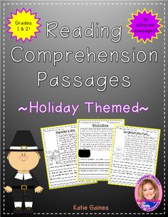 """Holiday Themed Reading Passages - These reading passages are excellent resources to teach your primary students all about comprehension and context clues. Although just a passage, each one is chalked full of details and includes a picture. Each passage comes with 3-4 comprehension questions, asking students to think """"about, within, and beyond"""" the text. #teachersherpa"""