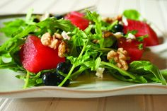 Watermelon and Goat Cheese Arugula Salad | Recipe and photo by Alison Lewis; Birmingham mag, April 2012 |
