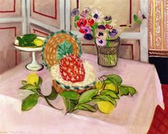View Nature morte: ananas, citrons By Henri Matisse; oil on canvas; Access more artwork lots and estimated & realized auction prices on MutualArt. Henri Matisse, Matisse Art, Matisse Pinturas, Pink Tablecloth, Matisse Paintings, Art Sur Toile, Post Impressionism, Impressionist, Painting Still Life