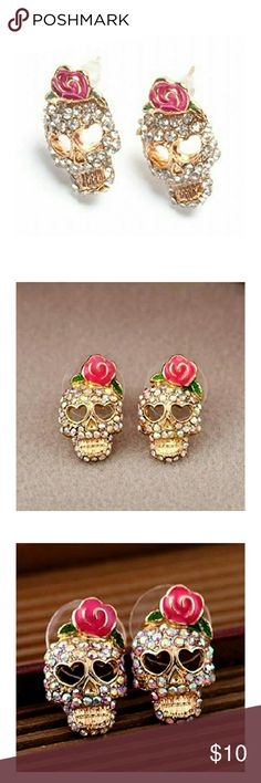 Sugar Skull Earrings Encrusted with sparkly pave stones with rose. Brand new in gift box. 3 PAIRS AVAILABLE Boutique  Jewelry Earrings