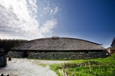 A reconstructed Viking longhouse on the coast of Norway.