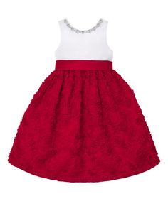 4a71b43fa6ae Couture Princess White   Red Jewel Neck Rosette A-Line Dress - Toddler    Girls