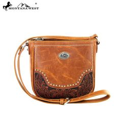 Montana West Genuine Leather Tooled Collection Messenger