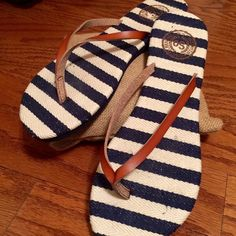 Nautical Navy Blue and White Striped flip flop Nautical Navy Blue and White Striped flip flop. Very cute for summer! Never worn. SO Shoes Sandals
